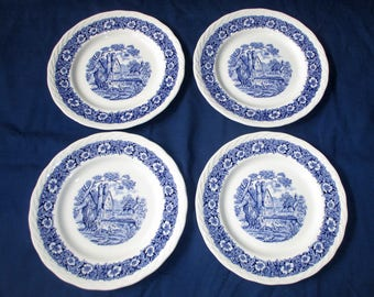 "Set of 4 W.H. Grindley Blue COUNTRYSIDE 7-7/8"" Salad Plates, Scallop Braided Rim, Pastoral Scene (c. 1950s)"