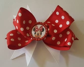 Red and white dot Minnie mouse bottle cap bow