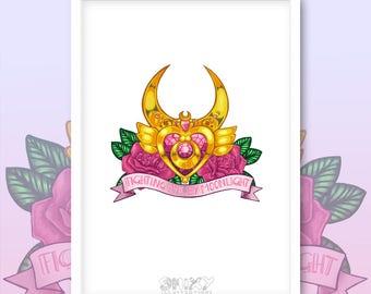 Sailor Moon Tattoo Crescent Locket Brooch A4 Giclee Print.