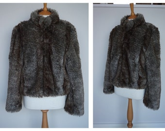 ORIGINAL VINTAGE 1970s 80s Faux Fur Grey and Brown Jacket Coat | Medium |