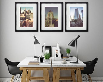 Set of 3 Los Angeles Photography, skyline sunset large wall art, office decor/Eastern building Rialto/ la la land/California photography set