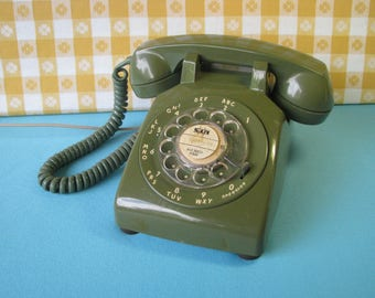 Mid Century Rotary Dial Phone - Works Well - Olive Green  - ITT International Telephone - 500 Model - Vintage 1960's