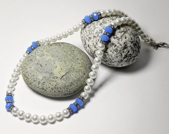 Pearl Necklace Blue Necklace Beadwork White Beaded Necklace Elegant Simple Necklace Delicate Necklace Gift Handmade Jewelry Fashion Jewelry