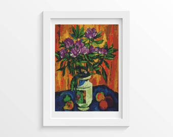 Cross Stitch Pattern PDF Still Life with Peonies in a Vase by Pyotr Konchalovsky Cross Stitch Chart, DIY Instant Download (PYOTR03)