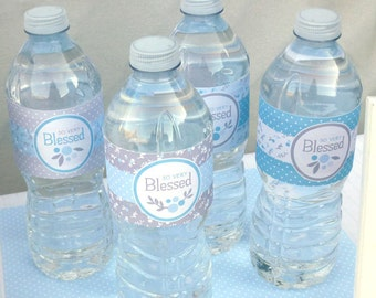 Boy Baby Blessing Water Bottle Wraps Printable: Party Wrappers -- Instant Download for Boy Baby Shower or Christening Party