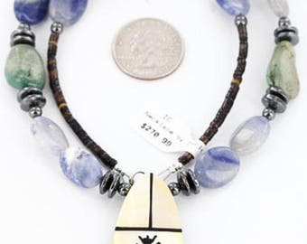 Large 270 tag inlaid kachinaauthentic charlene little navajo .925 sterling silver lapis turquoise native american necklace 371033899518