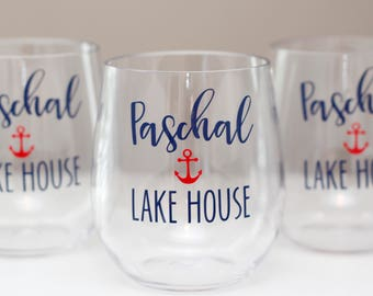 lake house wine glasses // Personalized acrylic wine glass // Beach House wine glasses // lake house gift // housewarming gift // plastic