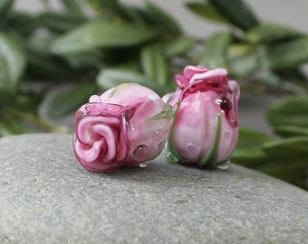 Handmade Lampwork Beads, 1 pc Lampwork Rose, Glass Beads, Floral Lampwork, Lampwork Flower Beads, Rose Buds,Lampwork Flower Bud, Romance