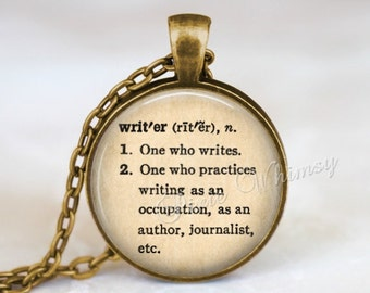 WRITER Necklace Pendant Keychain Jewelry, Writer Dictionary Word Definition, Gift for Writer Author, Writing Write Typography Word Art Quote