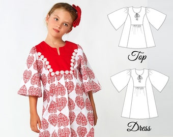 Tunic Patterns, Girls Dress Patterns, Girls Top Patterns, Girls Sewing Patterns, Childrens Sewing Patterns, Dress Pattern, FLORENCE