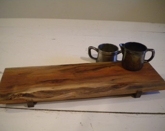 Live Edge Wild Cherry cutting board, serving tray, sushi board, cheese tray, live edged, worm holes