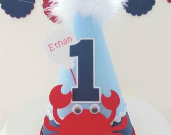 Lil Crab Nautical Birthday Party Hat - Personalized - Baby Blue, Navy, Red and White
