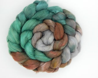 Celtic Teatime 2.75 oz 80 g Polwarth Tussah 60/40 Handpainted Gradient Combed Top Wool and Silk Roving