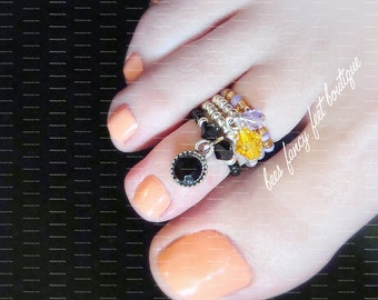 Stacking Toe Ring | Antique Onyx Dangle Charm | Crystal Bicone Charms | Stretch Bead Toe Rings