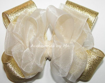 Pageant Hair Bow, Girls Ivory Gold Hairbow, Organza Lame Metallic Ribbon Clip, Baby Toddler Accessories, Princess Pageant, Birthday Occasion