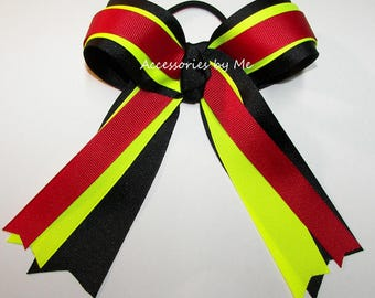 Ponytail Holder, Red Neon Yellow Black Hairbow, Softball Hairbow Ties, Cheer Cheerleader Soccer Volleyball Team Bulk Cheap Wholesale Price