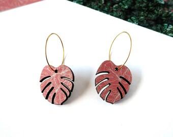 Monstera Hoop Earrings - Plant Hoop Earrings - Tropical Hoop Earrings - Tropical Leaf Jewellery - Botanical Jewellery - Costume Jewellery