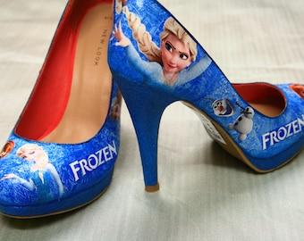 Disney Frozen Heels / Platform / Pumps - Decoupage Shoes