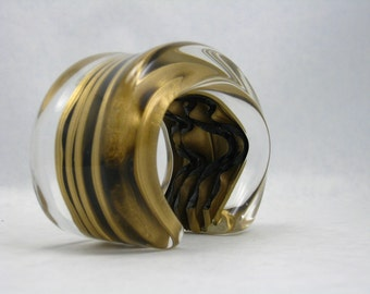 Huge reverse carved, Lucite cuff bracelet by Vigneri
