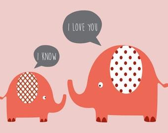 PINK LOVE ELEPHANTS wall art