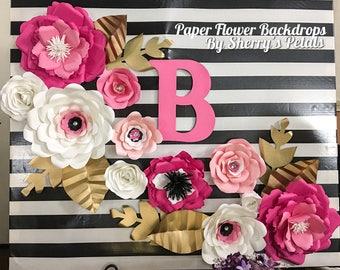 Nursery Paper Flower Wall Hanging/ Baby Shower Paper Flower Decor/ Girls Room