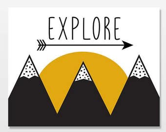Explore Mountains Nursery Art Print, Baby Boy Nursery Decor, Arrow Explorer Artwork