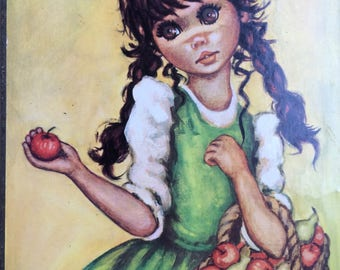 Vintage Big Eye Idylle Print of Girl with a basket of Fruit