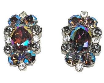 Juliana AB Heliotrope Lavender Lilac Aurora Borealis Rhinestone Earrings DeLizza & Elster  Vintage Designer Costume Jewelry