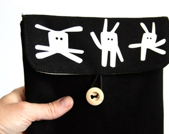 Bunny tablet case, funky gift, present for daughter, digital media case, padded sleeve, iPad mini sleeve, kindle case