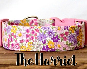"Vintage Inspired Pink & Purple Girly Floral Dog Collar ""The Harriet"""