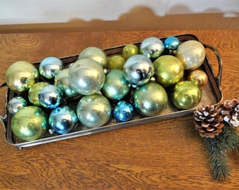 Vintage Mercury Glass Ornaments - 24  Ornaments in Assorted Shades of Pastel Aqua and Green - Shabby Cottage Chic Christmas Decorations