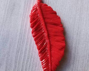 Feathers, Feather, Clay Feathers, Feather Cabochon, Feather Craft Supplies, Feather Jewelry, Cabochons, Craft Supplies, Feather Red 1.5 inch