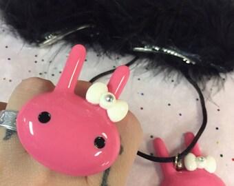 Pastel Goth Sweet Lolita Pink Bunny Fluff Gift Set