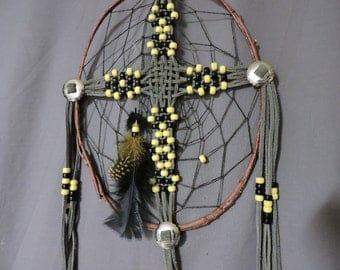 CrossCatcher (CC09) – A Beaded leather lacework Cross encircled in a twisted willow branch, dream catcher