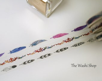 Thin Feather Washi Tape Set of 3(7mm x 5m)