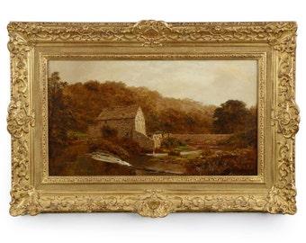 "Robert Gallon (English, 1845-1925) Original Landscape Painting ""The Sawmill"" c. 1884,  604PDA12Q"