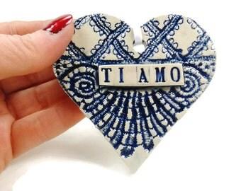 Ti Amo Ornament, Italian Love Heart, Bridal Shower Favor, I Love You Italian, Italian Wedding Favor, Ti Amo Heart, Valentine Heart
