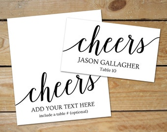 Cheers Wedding Place Card Templates // Editable Seating Cards for Wedding, Instant Download // DIY Place Cards Printable