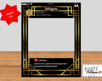 Custom 1920s Great Gatsby Style Frame Photo Booth Prop Instagram Prop (Digital File Only)
