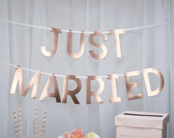 Rose Gold 'Just Married' Bunting for weddings and party decorations