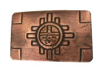 Vintage Copper Belt Buckle - Southwestern - New Mexico - Arizona - Sun - Native American Art