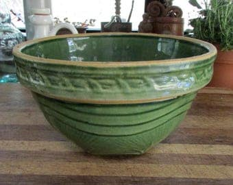 AnTique Green Pottery Mixing Bowl ~  Rustic 1930's Yellow Ware