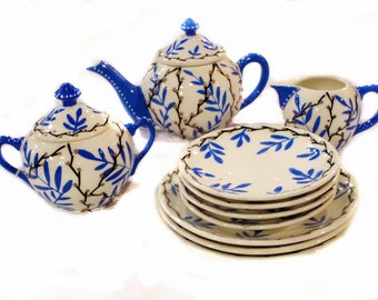 Art Deco Czech Bohemian Tea Set Hand Painted Tea Pot, Cream and Covered Sugar Ceramic Pottery Stoneware Serving  Set