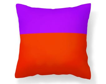 Orange Colorblock Pillow Cover - Orange and Purple Pillow Cover - Purple and Orange Colorblock - 16x16 inch - 18x18 inch - 20x20 inch
