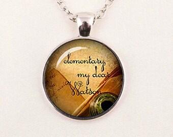 Sherlock Holmes glass domed silver pendant with Elementary My Dear Watson