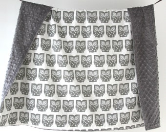 Large Baby/Toddler Blanket, Gray Owls with Gray Minky Dot