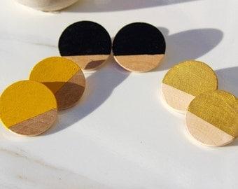 Three Quarter Wood Painted Earrings Large