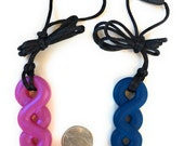 Silicone Twist Chewable Necklace, focus fidget, teething, sensory, Aspergers, autism, ADHD, special needs, break away necklace
