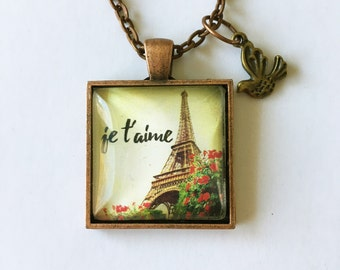 Je t'aime personalized message necklace