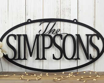 """Family Last Name Metal Sign   Custom Sign   Personalized Sign   Wedding Gift   Family Name Sign   Outdoor Sign   House Sign   20""""W x 10""""H"""